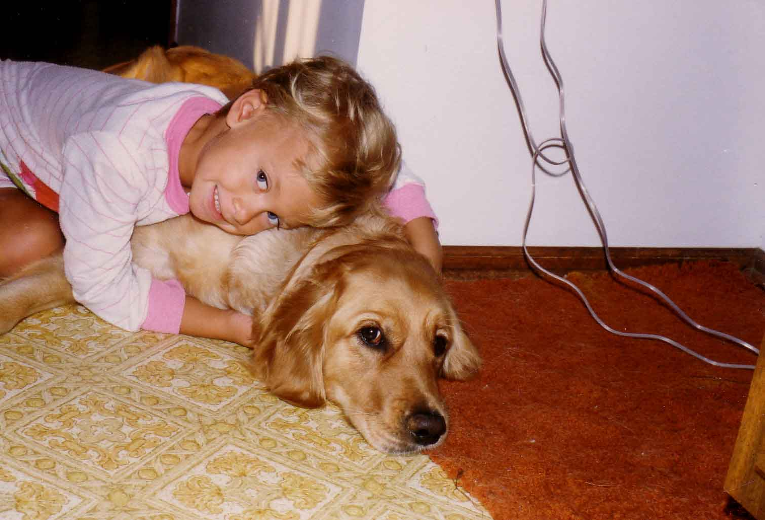 a little girl and her dog